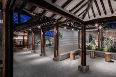 in the ikeson-dong district of seoul, south korea, LABOTORY architects restored a & atmosphere renovating a traditional hanok home into a cafe. Coffee Cafe Interior, Korean Coffee Shop, Journey Coffee, Restaurants, Bar Interior Design, Outdoor Restaurant, Coffee Shop Design, Chinese Architecture, Design Blog