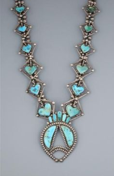Old Navajo Heart Squash Blossom Necklace Mertha Hopkins