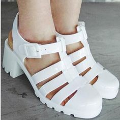 13a8a4420ac American Apparel White Jellies Jelly Sandals