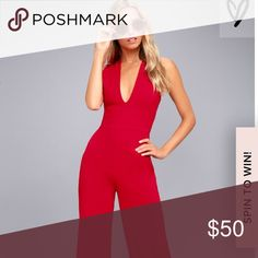 NWT Lulu's Red Jumpsuit Red jumpsuit with open back size M- nothing wrong with it just didn't fit. Picture 3- me(5'8)  in small-  good for those shorter than 5'8 that usually wear size small, fits tight. (Willing to sell size S that has been worn once- comment for details) Lulu's Other