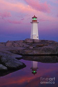 ✯ Sunrise Colors At Peggys Cove Lighthouse - Nova Scotia, Canada