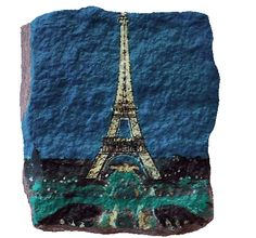 Rock painting on a cobblestone from the streets of Paris - Eiffel ...