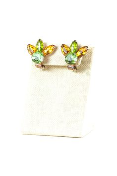 60's__Vintage__Green and Amber Floral Clips