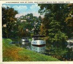 A Picturesque View of Canal Near Summit Beach Park, Akron, Ohio :: General Photograph Collection of the Akron-Summit County Public Library