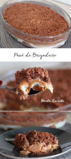 Pave Brigadeiro, made with delicious and simple ingredients that we usually have at home. Chocolate Flavors, Chocolate Recipes, Food Porn, Good Food, Yummy Food, Sweet Recipes, Dessert Recipes, Food And Drink, Cooking Recipes