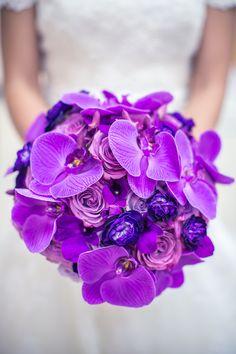 Vibrant Purple Bridal Bouquet | The Bloom Room LLC | Ama Photography | TheKnot.com