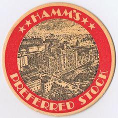 Vintage Hamm's Preferred Stock Beer Coaster Round