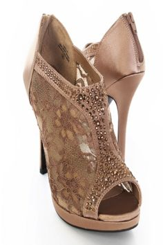 Brown Satin Mesh Floral Lace Rhinestone Bootie Platform Heels / Sexy Clubwear | Party Dresses | Sexy Shoes | Womens Apparel and Clothing | AMI CLubwear