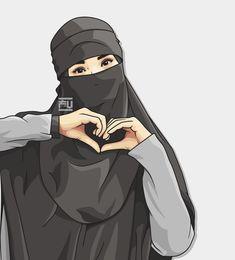 No photo description available. Cute Muslim Couples, Muslim Girls, Muslim Pictures, Hijab Drawing, Moslem, Islamic Cartoon, Hijab Cartoon, Cute Love Cartoons, Islamic Girl
