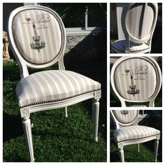 """Chaise médaillon """"PARIS"""" beige Shabby Chic : Meubles et rangements par monautrefois French Furniture, Refurbished Furniture, Upholstered Furniture, Repurposed Furniture, Shabby Chic Furniture, Furniture Makeover, Painted Furniture, Chair Redo, Diy Chair"""