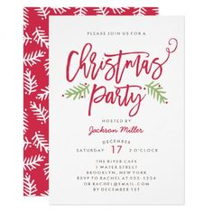Modern Brush Script Christmas Holiday Party Invitation