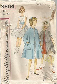 1960s Girls Dress Coat Bateau Neckline Cummerbund by kinseysue