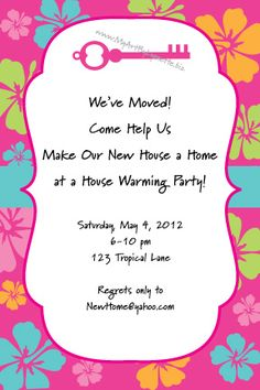 Luau themed Housewarming party