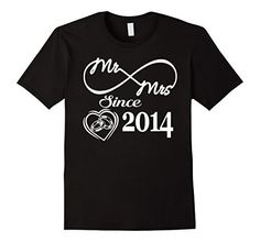 Mens 3 Years Anniversary Gift - Mr Mrs Since 2014 Shirt Large Black