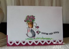 """Project details:  White card and pink cardstock Penny Black stamp set """"Piece of my Heart"""" (30-642) Marianne Design Collectables sentiment stamp (COL1324) Martha Stewart border punch Derwent Inktense water color pencils for coloring"""