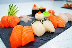 Sushi Training at Sushi-School.com in March 2013 - nigiri salmon, nigiri bass, nigiri fresh scallops and temari sushi