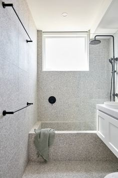Gallery - TileCloud Three Birds Renovations, Online Tile Store, Terrazo, Black Taps, Bathroom Renos, Bathroom Ideas, Small Toilet, Beach Bathrooms, Grey Tiles