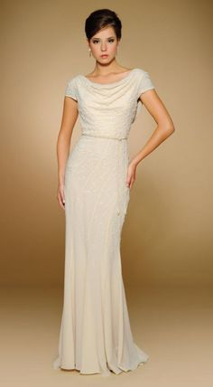 Cap sleeve draped neck Beaded Crepe long mother of the bride dress with cowl back and matching Shawl