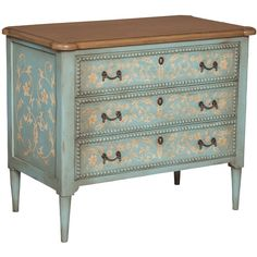 Colette Chest ($1,122) ❤ liked on Polyvore featuring home, furniture, storage & shelves, dressers, painted wood furniture, green furniture, wooden furniture, painted wood dresser and painted wooden furniture