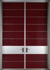 A New City pair with painted glass.  These ultra-modern aluminum doors offer dozens of panel options, including wood, glass, and metal.