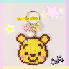 Winnie the Pooh keyring hama beads by ooh_sweetieshop: