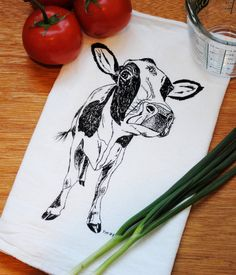 Cotton Kitchen Towel - Hand Screen Printed Black Cow - Flour Sack - Towel is Perfect for Dishes - Farm Towels - Country Towel - Farmhouse Flour Sack Towels, Tea Towels, Black Cow, Hand Illustration, Hand Designs, Kitchen Towels, Hostess Gifts, Screen Printing, My Design