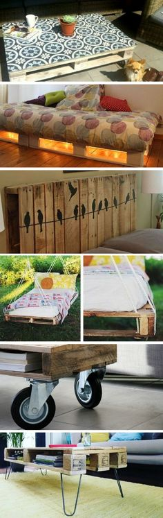 Here are 11 Original Ideas to Customize your Pallet Furniture, Table Palette, Bois Diy, Web Design, Minimalist Apartment, Apartment Furniture, Diy Pallet Projects, Pallet Furniture, Furniture Ideas, Diy And Crafts