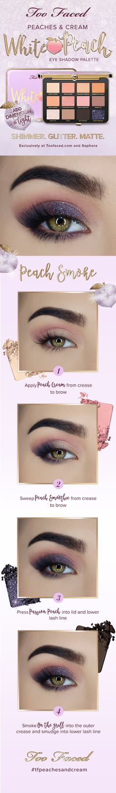 Too Faced  Peaches & Cream White Peach Eyeshadow Palette Make-up Tutorial! :-)