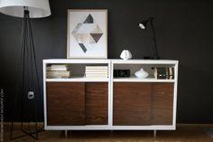 Mid century modern cabinet in dark wall living room hack from Ikea Besta shelf unit