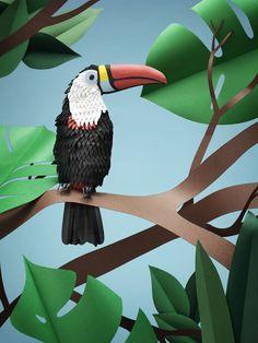 Incredible Toucan -- offset print and paper art by Fideli Sundqvist! Fidelisundqvist.com