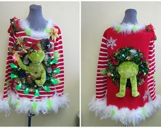 Grinch Christmas Sweater, Ugly Xmas Sweater, Christmas Crafts, Funny Ugly Christmas Sweaters, Xmas Sweaters, White Christmas, Christmas Ideas, Christmas Tree, Funny Christmas Movies