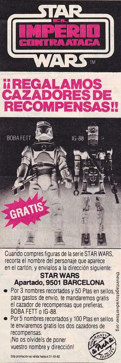 Spain. 1980. Star Wars El Imperio Contraataca 12 inch Boba Fett and IG-88…