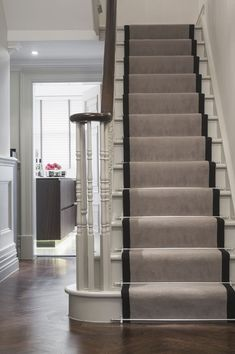 Stair Runner Carpet Staircase Traditional with Handrail Runner Staircase Wainscoting White Stairs Wood Interior Stairs, Hallway Decorating, House Entrance, Gray Stair Runner, Staircase Design, Foyer Decorating, Staircase Makeover, Carpet Stairs, Stairs