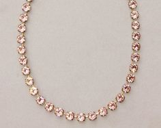 SALE Vintage Dusty Rose Swarovski Necklace,Swarovski Rhinestone Tennis Necklace,Dusty Rose Blush Pink,Bracelet or Necklace,Choice of Metal F