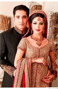 Pakistani Bride and #Groom by http://www.fashioncentral.pk/tags/pakistani-bridal-dresses/3/#.Uj_dfVNdMyo