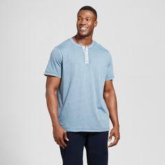 Men's Big & Tall Standard Fit Short Sleeve Henley T-Shirt - Goodfellow & Co Slate Blue 5XBT