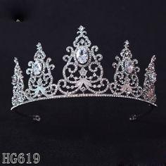 HG619 AAA CZ Full Wedding Bridal Crystal Crown Tiara Headband Hair Accessories