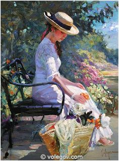 """At Monet Garden"", by Vladimir Volegov , painting, cm, oil on canvas Monet Paintings, Paintings I Love, Beautiful Paintings, Country Paintings, Painting People, Woman Painting, Painting Art, Illustration Art, Illustrations"