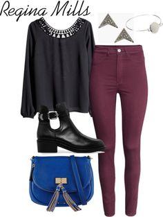Regina Mills street style by hkeene featuring highwaist pants  H M black long sleeve blouse, $24 / H&M highwaist pants, $24 / MANGO black cutout booties, $140 / ALDO faux handbag / Topshop earrings, $9.44 / Forever 21 hinged bracelet