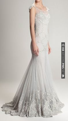 Gorgeous silver grey wedding gown with silver beaded detailing | Hamda Al Fahim F/W 12/13 | VIA #WEDDINGPINS.NET