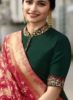20 Latest Collar Saree Blouse Designs for 2020 - - Collar style neckline is not just seen in the shirts and tops, but even in saree blouse designs collar pattern is highly preferred. In fact, it makes your saree blouse pattern looks very Indo-Weste…. Kurta Designs, New Saree Blouse Designs, Choli Blouse Design, Blouse Designs High Neck, Blouse Designs Catalogue, Fancy Blouse Designs, Bridal Blouse Designs, Designs For Dresses, High Neck Kurti Design