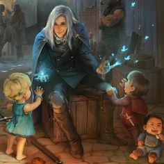 """""""He sat patiently waiting for his ship home. The war was long over and there was no more need for a battlemage.  The children ran around him, playing cheerfully amongst the crates and packages that were on their way to distant lands. As with all children they became curious, about his bright magi cloak, his silvery white hair, his purple eyes, but most of all they were fixated on the blue glow emanating from his hands. He lit up a conjuring, a small crackle as the butterflies flapped awa..."""