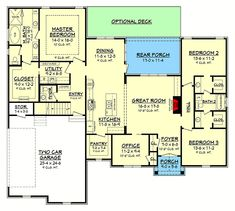 This plan is a beautiful mix of design and functionality which provides the most. - House Plans, Home Plan Designs, Floor Plans and Blueprints Best House Plans, Dream House Plans, House Floor Plans, The Plan, How To Plan, Plan Plan, Traditional House Plans, Traditional Exterior, Modern Farmhouse Plans