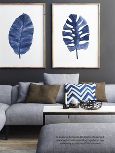 Algo gráfico plátano de hojas de Palma azul por ColorWatercolor