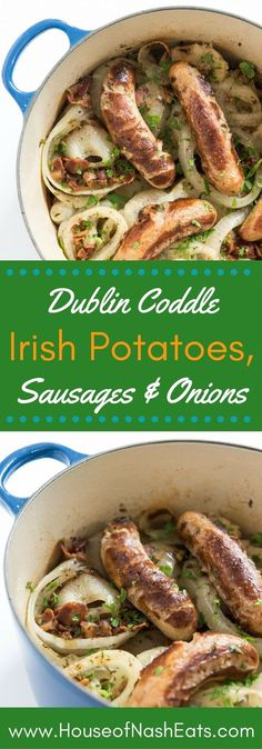Dublin Coddle is an Irish one-pot meal of tender potatoes, sausage and onions, slow cooked in broth to create a rich, filling stew, perfect for St. Patrick's Day or any cold, rainy weeknight. Irish Desserts, Sausage Recipes, Pork Recipes, Cooking Recipes, One Pot Meals, Main Meals, Irish Potatoes, St Patricks Day Food, Gourmet