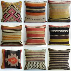 I need to find a vintage mexican blanket and make some pillows like this!