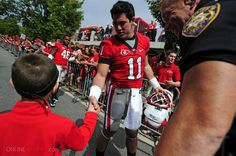 #Dawgs QB Aaron Murray at the Dawg Walk this morning before the game against Coastal Carolina. Go Dawgs!!