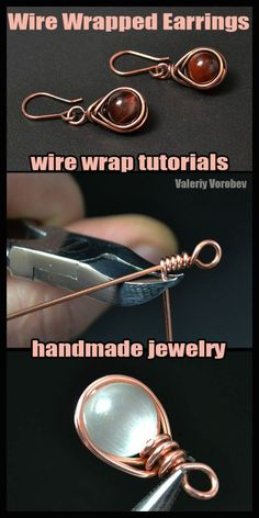 Wire wrapped jewelry Jewelry making basics How to Make Wire Wrapped earrings Step by step wire wrap tutorial ValeriyVorobev Jewelry WireWrapTutorials WireWrapping WireWrap WireWrapped WireJewelry Handmade Diy Jewelry Unique, Diy Jewelry To Sell, Wire Jewelry Making, Diy Jewelry Tutorials, Jewelry Ideas, Jewelry Accessories, Jewelry Crafts, Wire Jewelry Rings, Hanging Jewelry