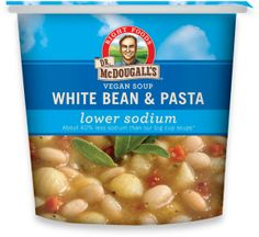 LOVE Dr. Mcdougall's soup cups!  Low Calorie Vegetarian and Vegan Foods - Dr. McDougall's Right Foods - Light Sodium White Bean & Pasta Soup