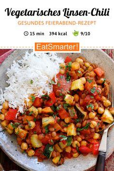Vegetarisch für Genießer: Vegetarisches Linsen-Chili mit Reis - kalorienarm - schnelles Rezept - einfaches Gericht - So gesund ist das Rezept: 9,0/10 | Eine Rezeptidee von EAT SMARTER | Vegetarische Rezepte unter 400 kcal, Vegetarisches Mittagessen, Vegetarisches Abendessen, Vegetarische Hauptgerichte #vegetarisch #gesunderezepte